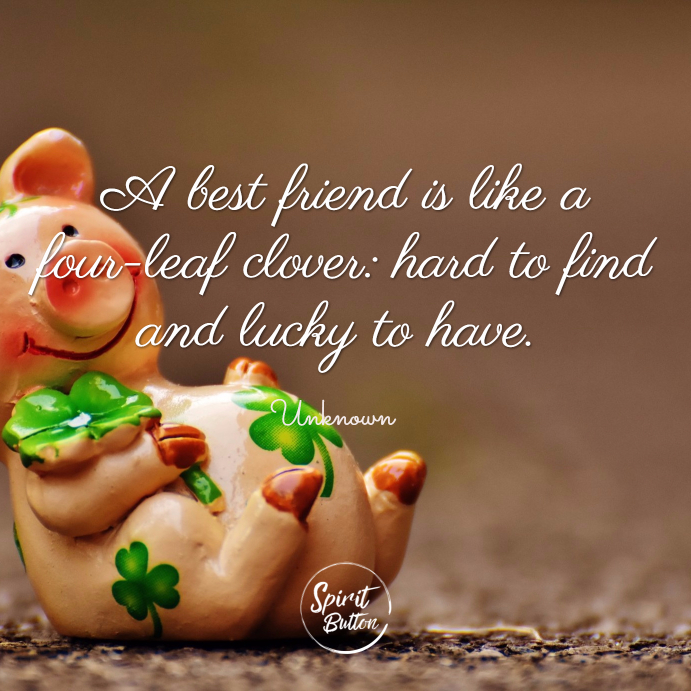 A best friend is like a four leaf clover hard to find and lucky to have. unknown