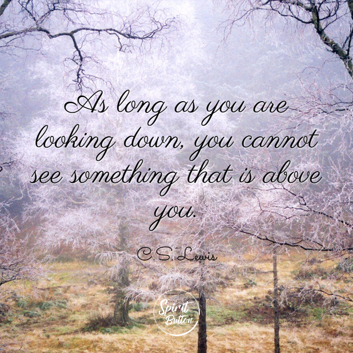 As long as you are looking down you cannot see something that is above you. c.s. lewis
