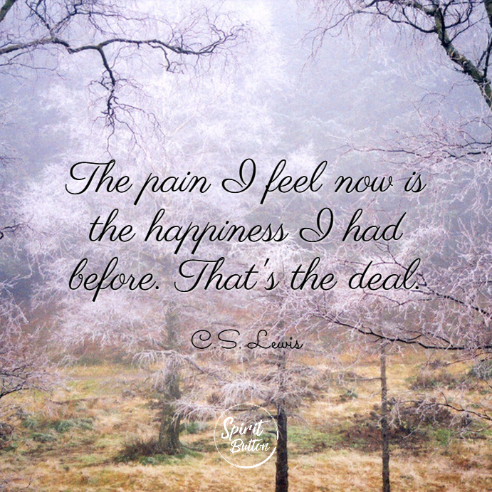 The pain i feel now is the happiness i had before. thats the deal. c.s. lewis