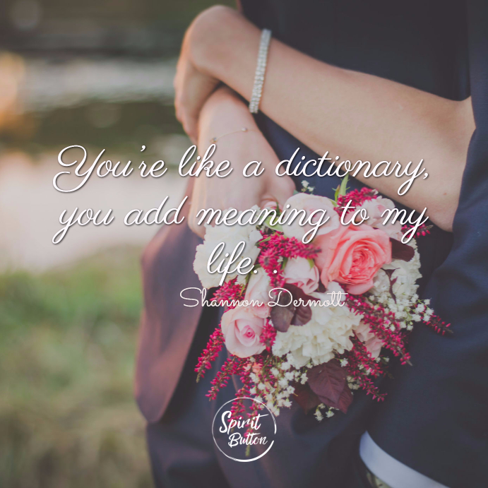 You're like a dictionary you add meaning to my life. shannon dermott 1