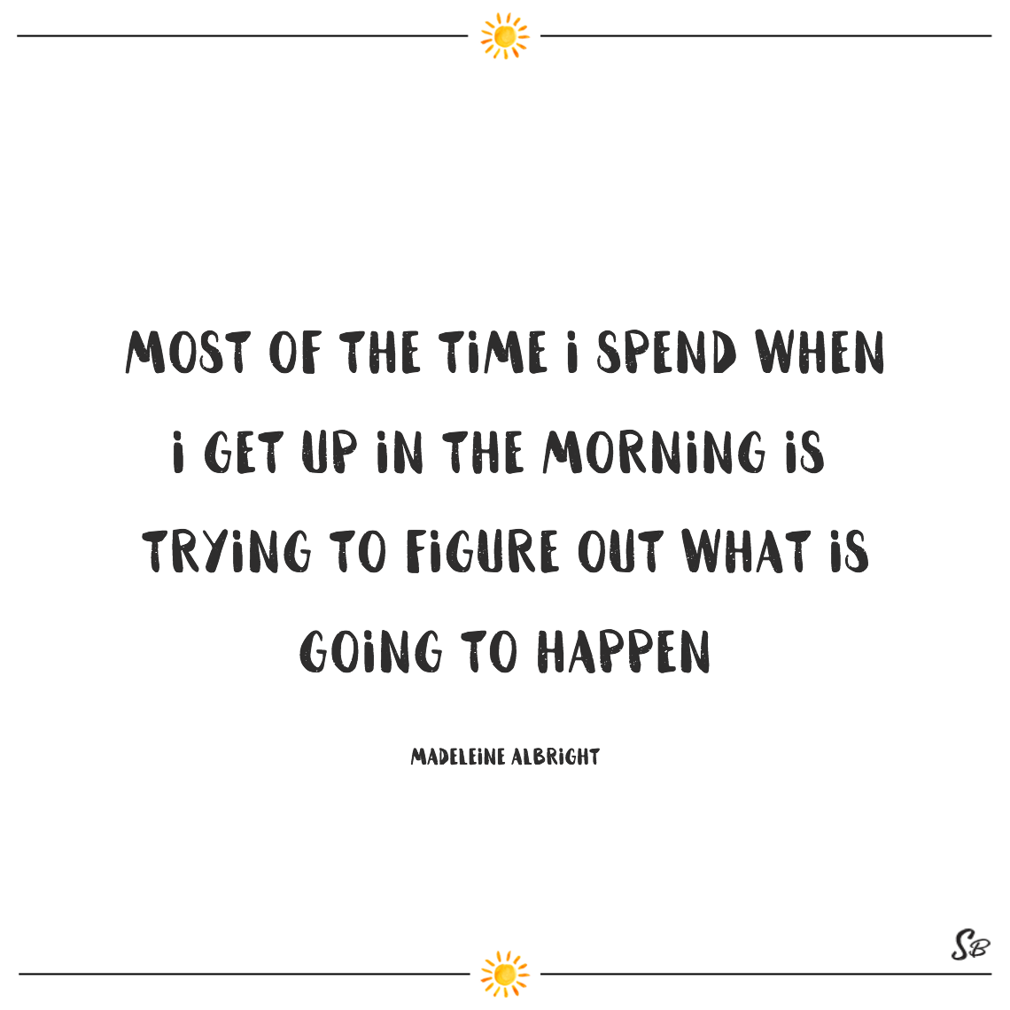 Most of the time i spend when i get up in the morning is trying to figure out what is going to happen madeleine albright