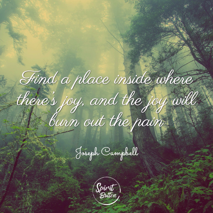 Find a place inside where there's joy and the joy will burn out the pain. joseph campbell