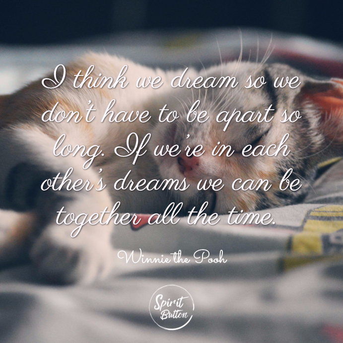 I think we dream so we don't have to be apart so long. if we're in each other's dreams we can be together all the time