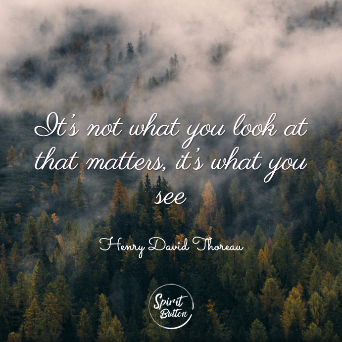 It's not what you look at that matters it's what you see. henry david thoreau