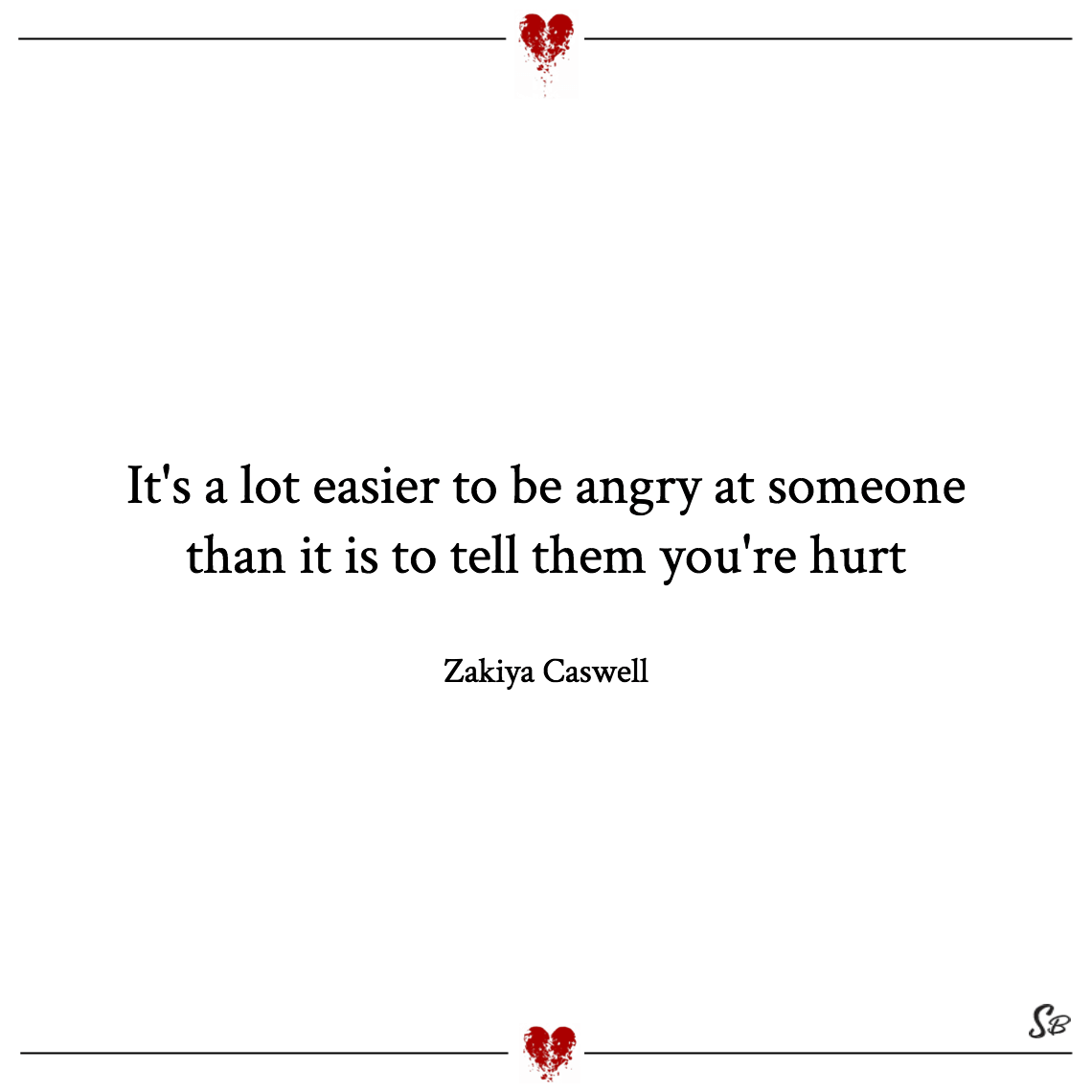 It's a lot easier to be angry at someone than it is to tell them you're hurt zakiya caswell