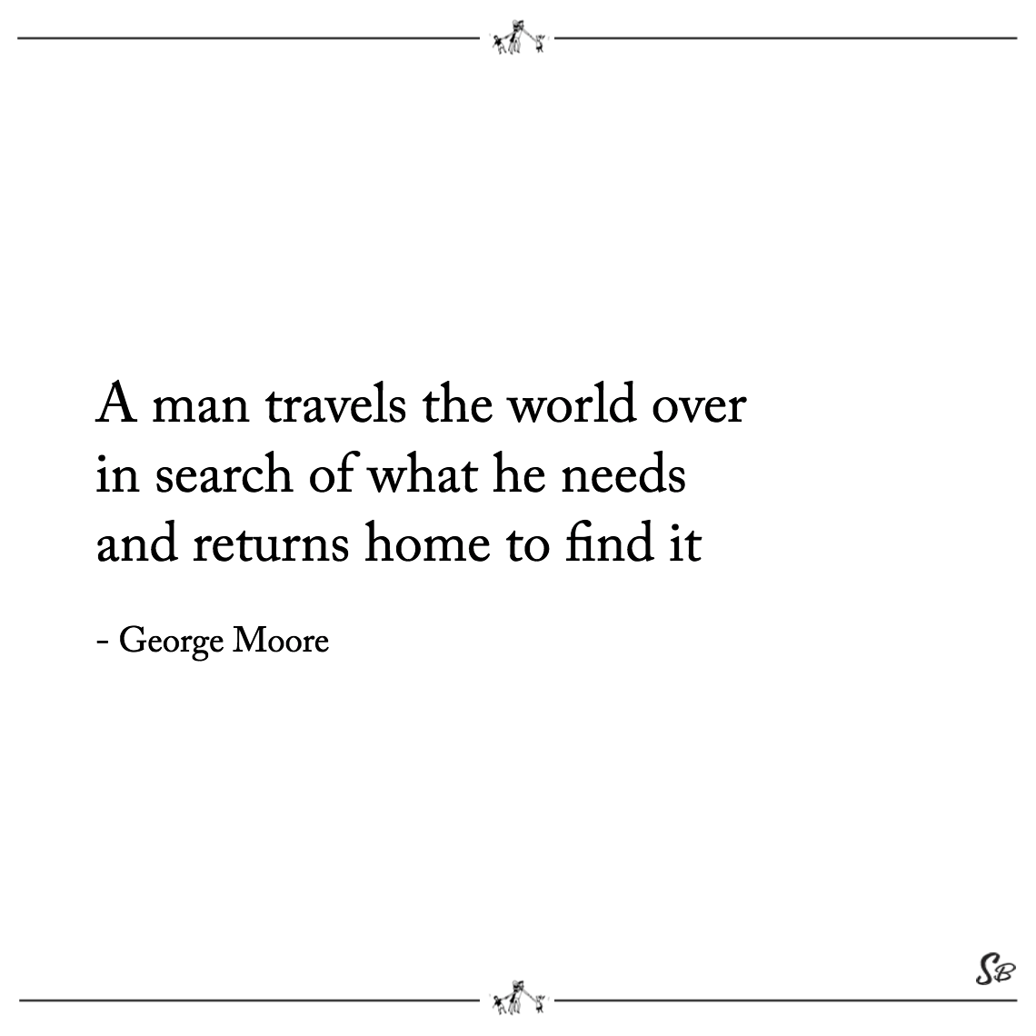 A man travels the world over in search of what he needs and returns home to find it george moore