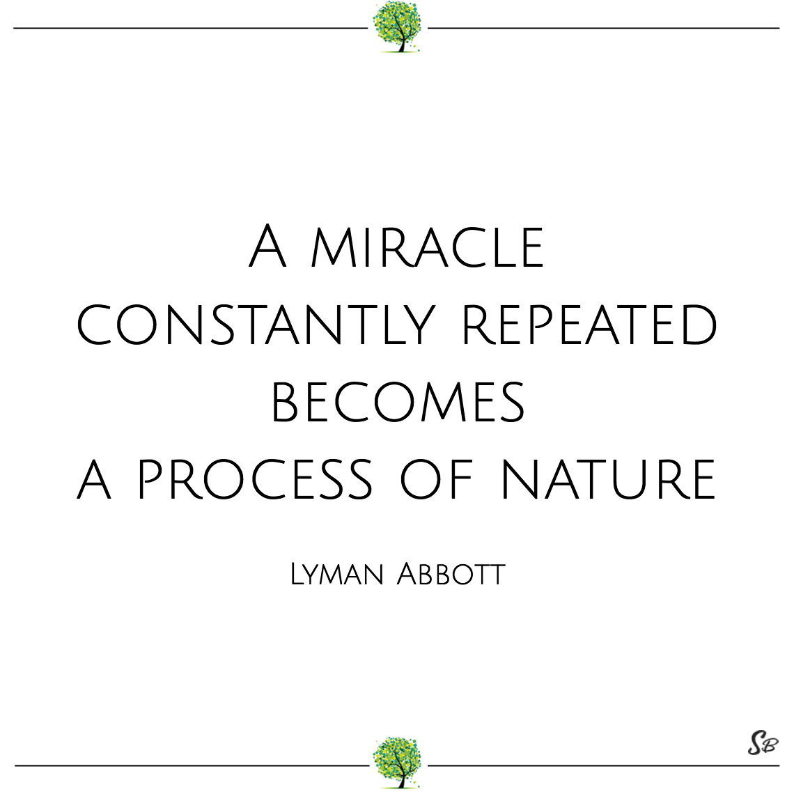 A miracle constantly repeated becomes a process of nature lyman abbott