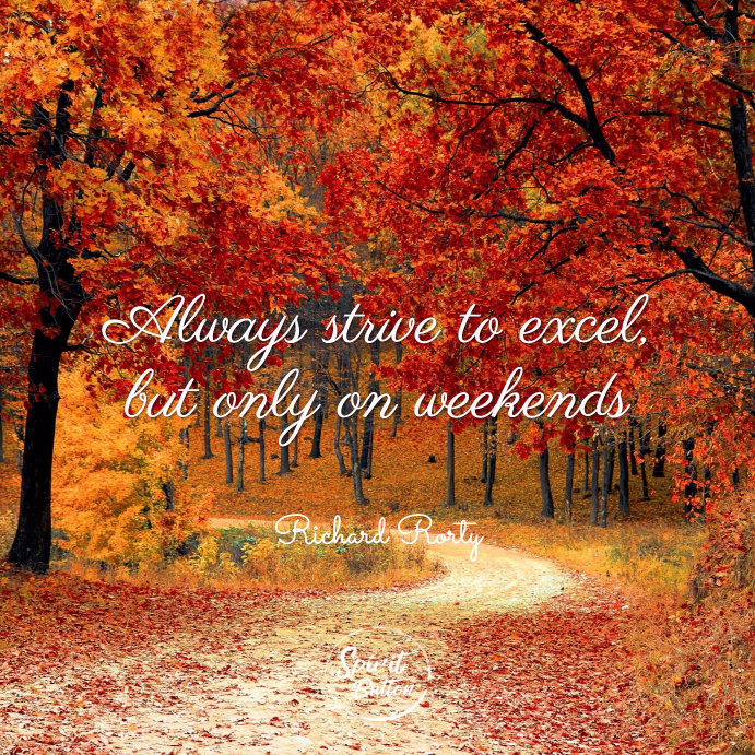 Always strive to excel, but only on weekends. richard rorty