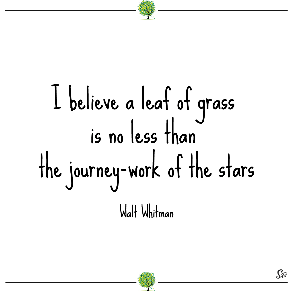I believe a leaf of grass is no less than the journey work of the stars walt whitman