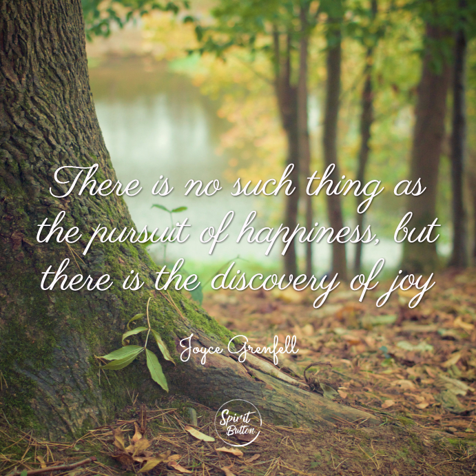There is no such thing as the pursuit of happiness, but there is the discovery of joy. joyce grenfell