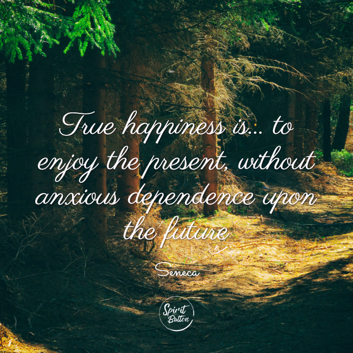 True happiness is... to enjoy the present, without anxious dependence upon the future. seneca