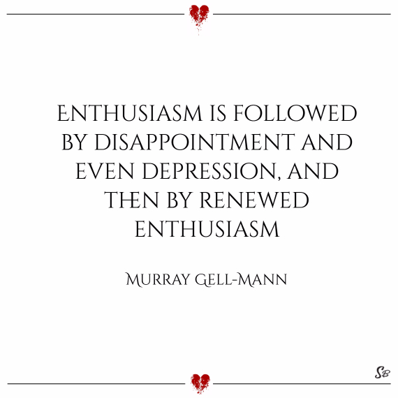 Enthusiasm is followed by disappointment and even depression, and then by renewed enthusiasm. – murray gell mann