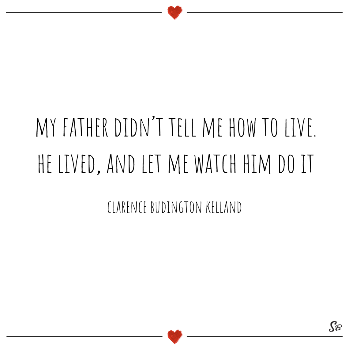 My father didn't tell me how to live; he lived, and let me watch him do it. – clarence budington kelland