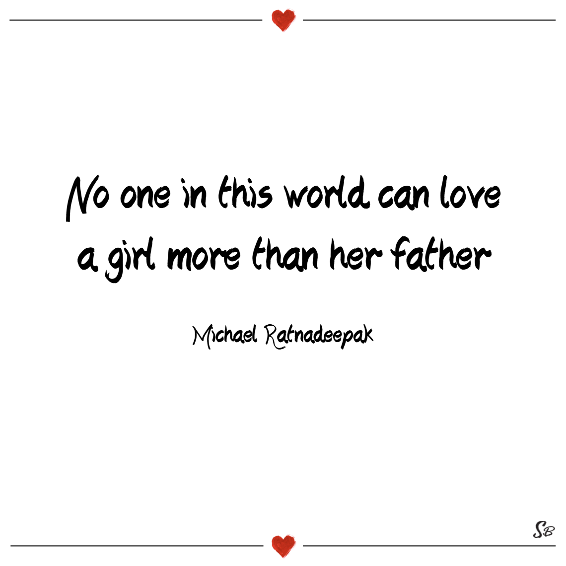 No one in this world can love a girl more than her father. – michael ratnadeepak