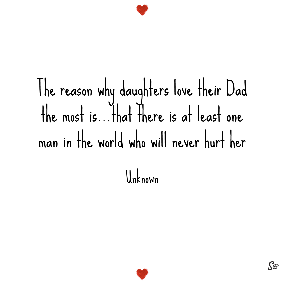 The reason why daughters love their dad the most is…that there is at least one man in the world who will never hurt her. – unknown
