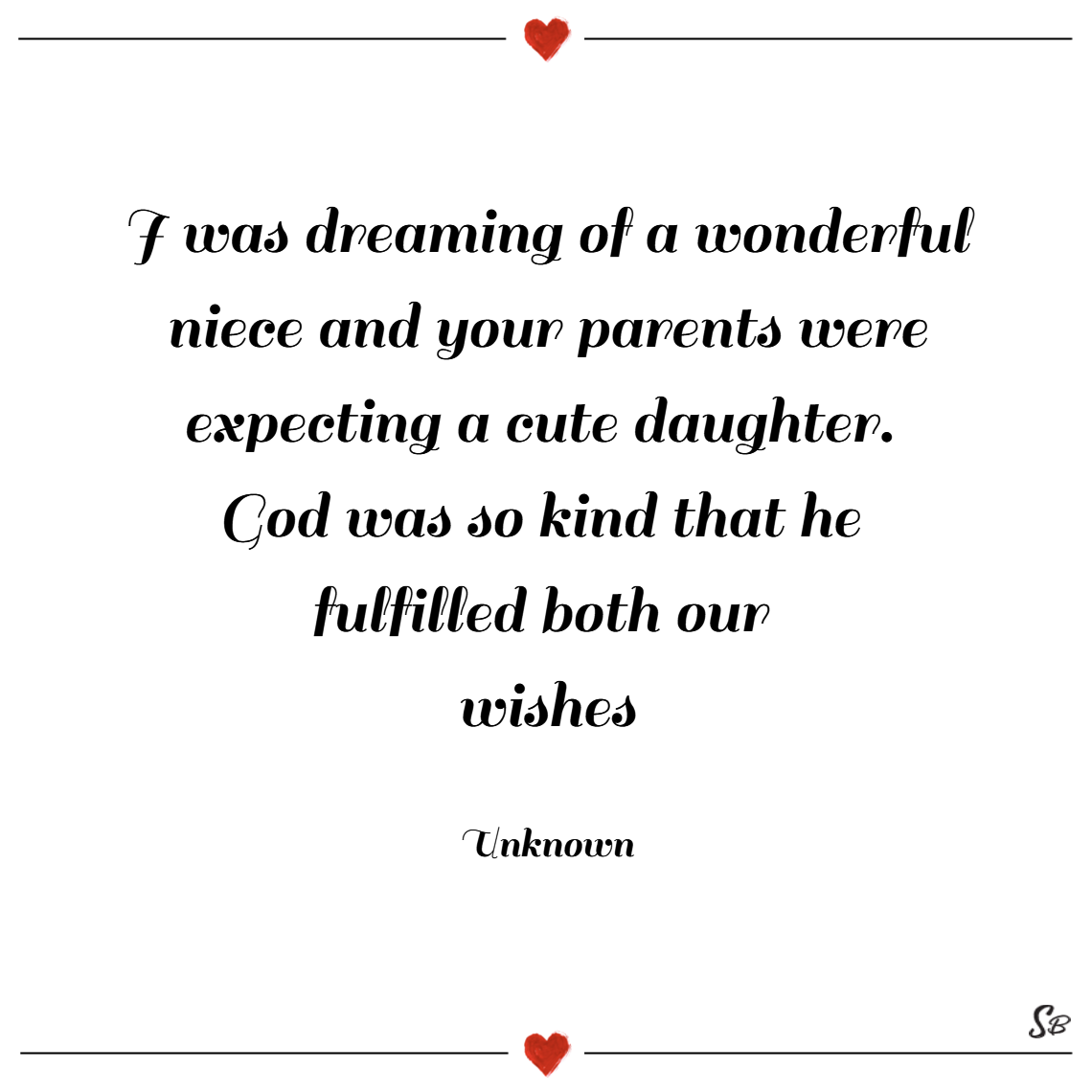 I was dreaming of a wonderful niece and your parents were expecting a cute daughter. god was so kind that he fulfilled both our wishes. – unknown
