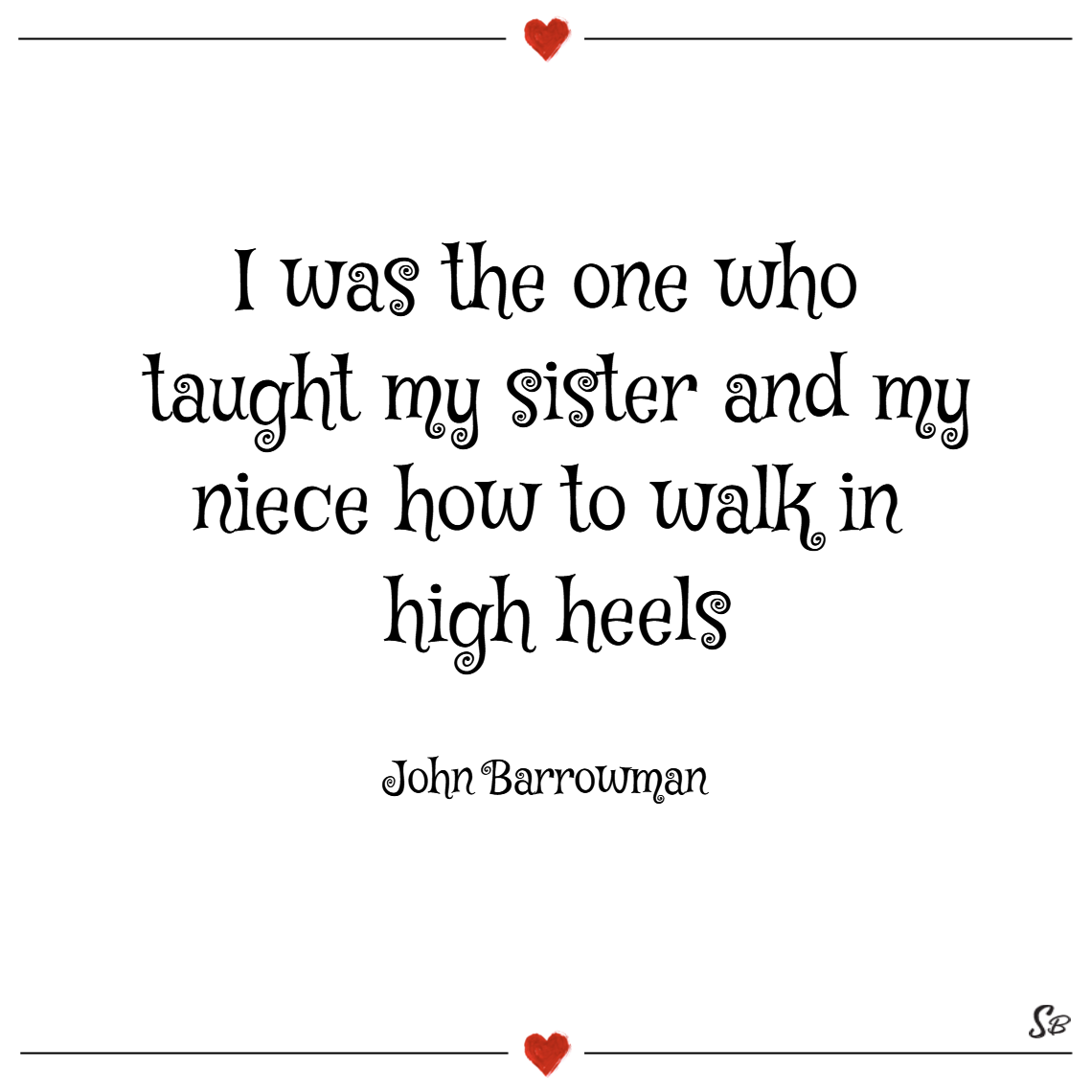 I was the one who taught my sister and my niece how to walk in high heels. – john barrowman