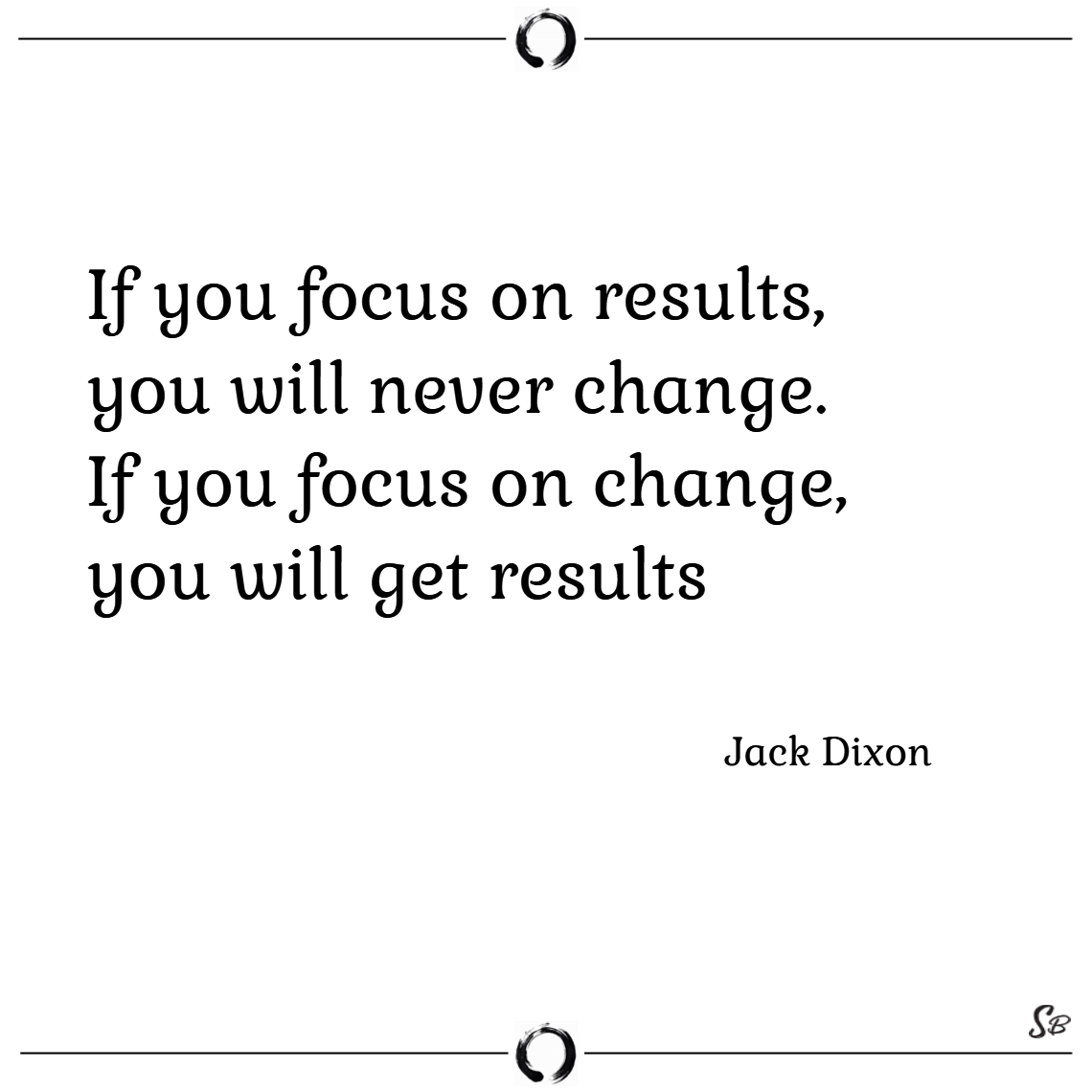 If you focus on results, you will never change. if you focus on change, you will get results. – jack dixon