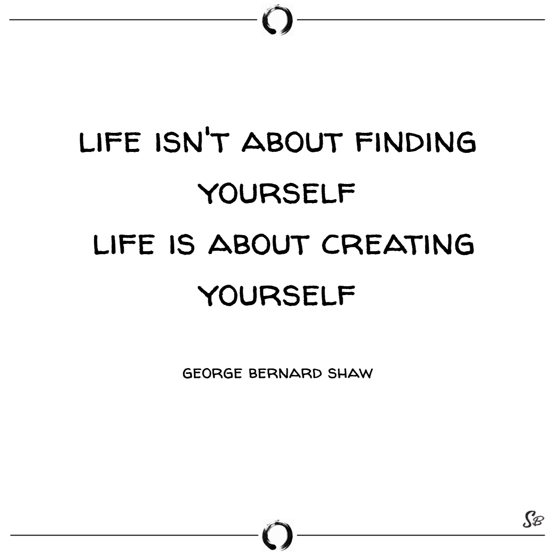 Life isn't about finding yourself. life is about creating yourself. – george bernard shaw