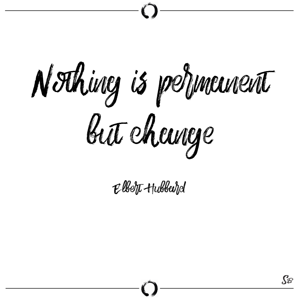 Nothing is permanent but change. – elbert hubbard change quotes