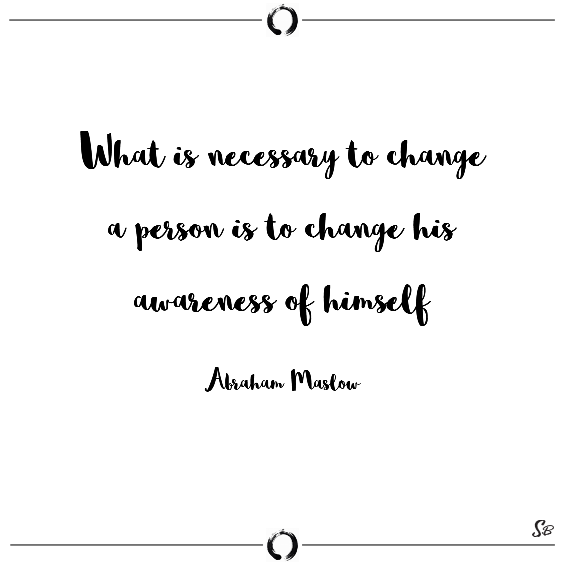 What is necessary to change a person is to change his awareness of himself. – abraham maslow