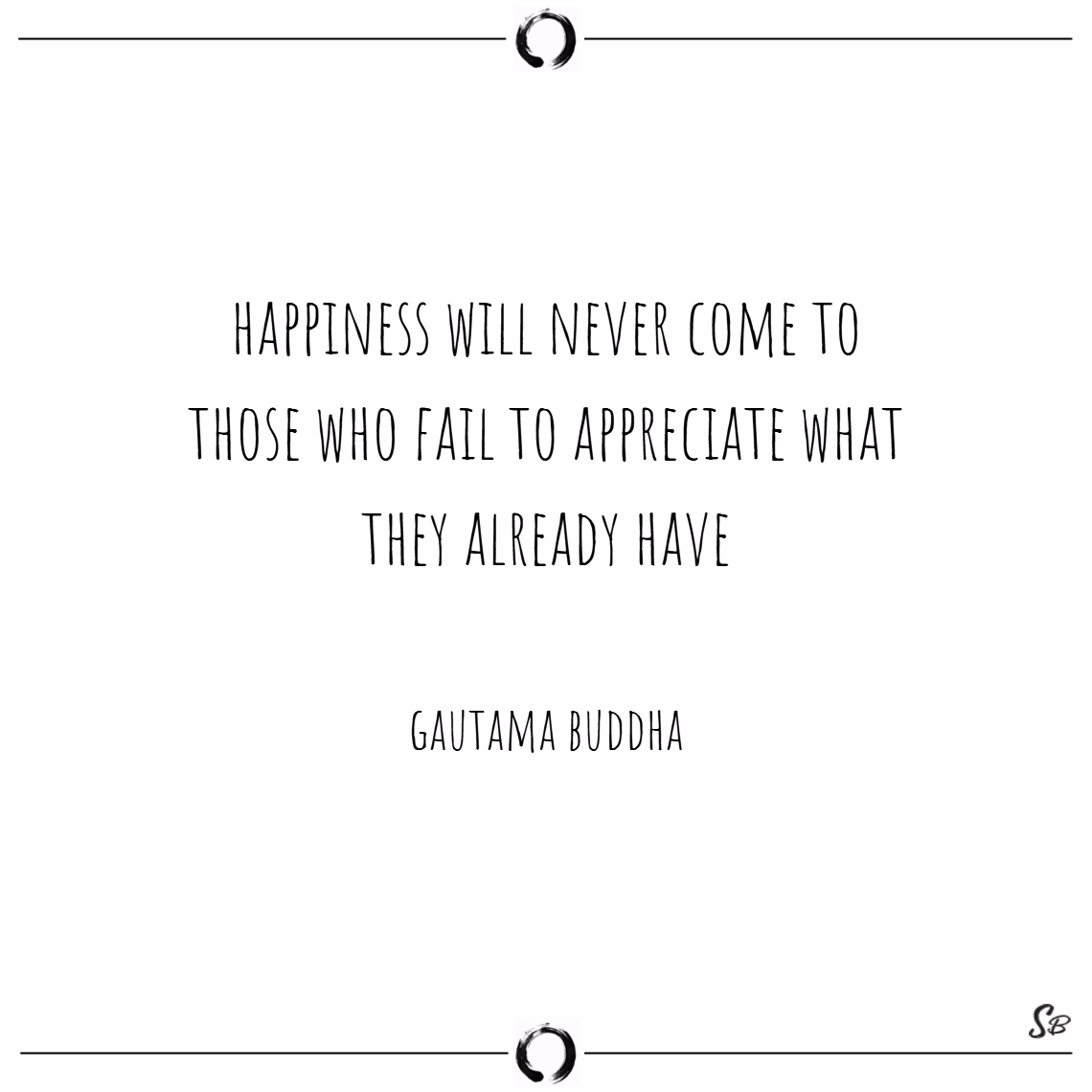 Happiness will never come to those who fail to appreciate what they already have. – gautama buddha