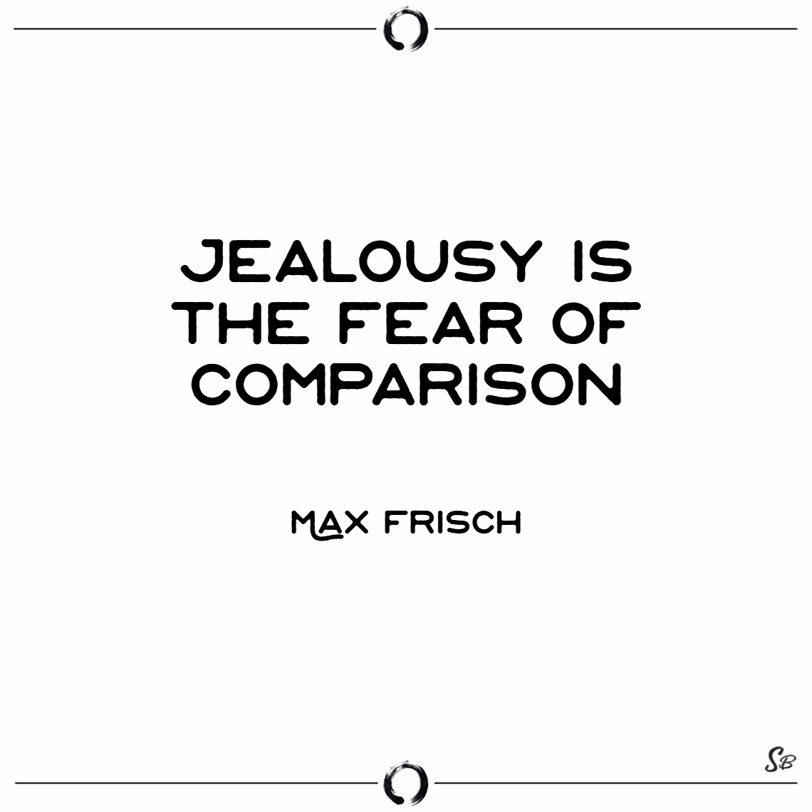 Jealousy is the fear of comparison. – max frisch