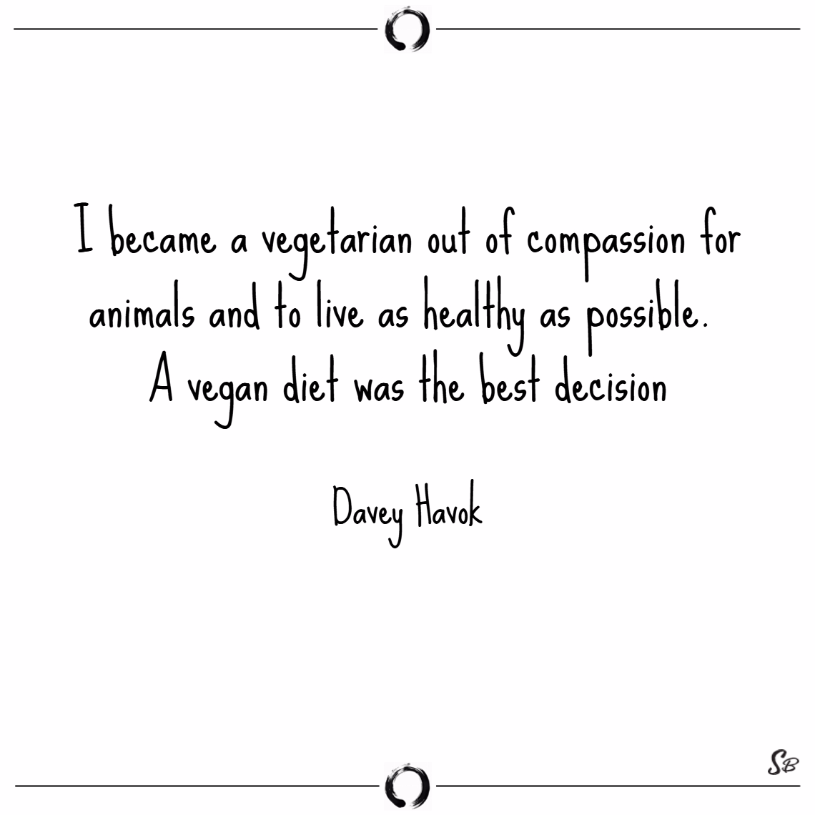 I became a vegetarian out of compassion for animals and to live as healthy as p