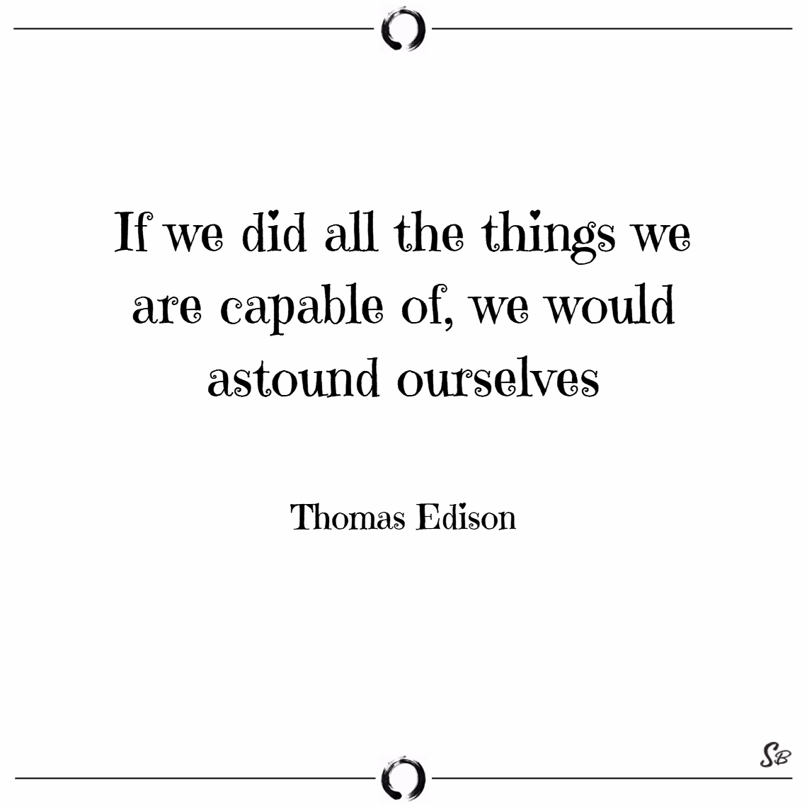 If we did all the things we are capable of, we would astound ourselves. – thomas edison words of encouragement