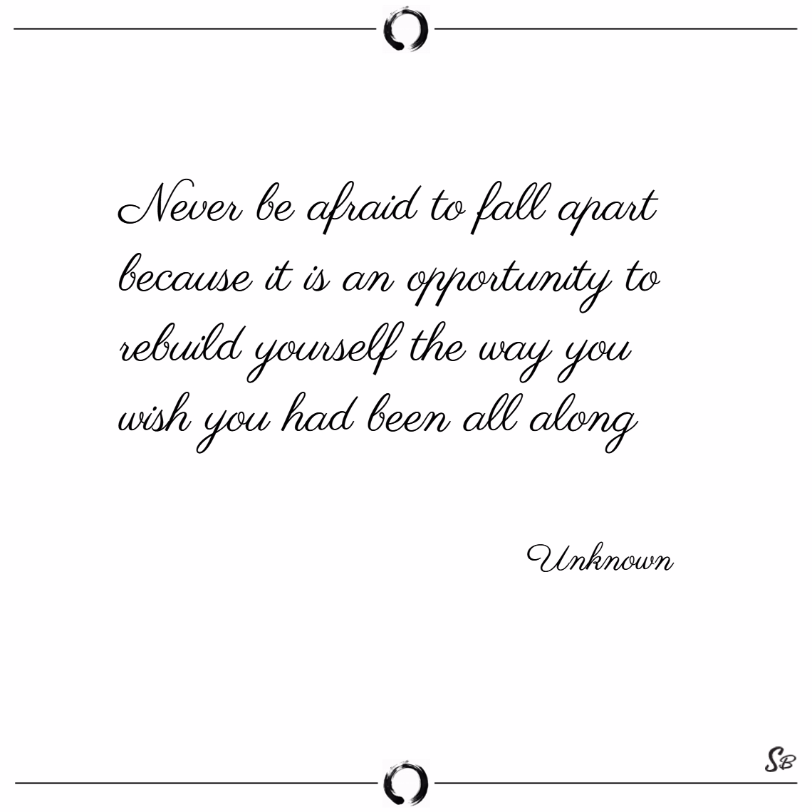 Never be afraid to fall apart because it is an opportunity to rebuild yourself the way you wish you had been all along. – unknown