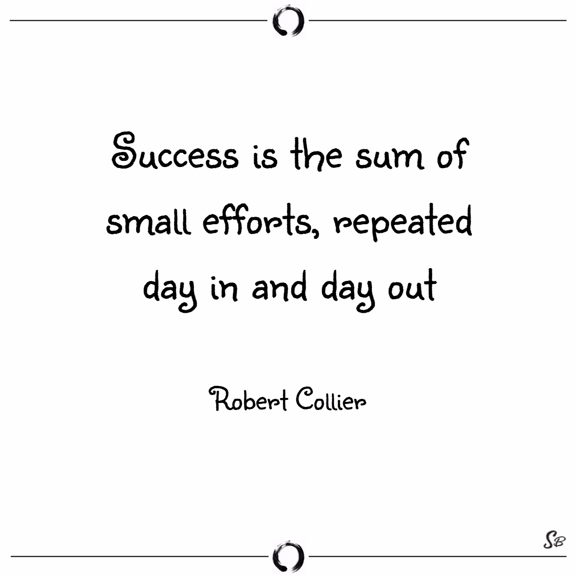 Success is the sum of small efforts, repeated day in and day out. – robert collier