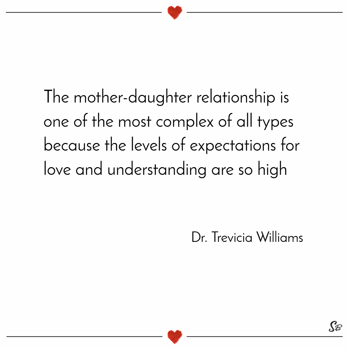 The mother daughter relationship is one of the most complex of all types because the levels of expectations for love and understanding are so high. – dr. trevicia williams