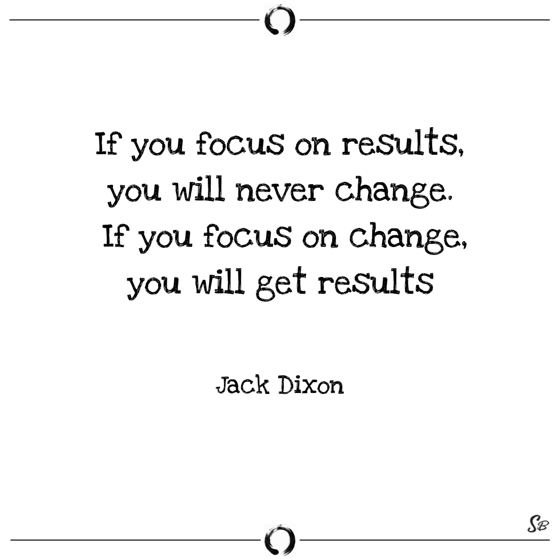 If you focus on results, you will never change. if