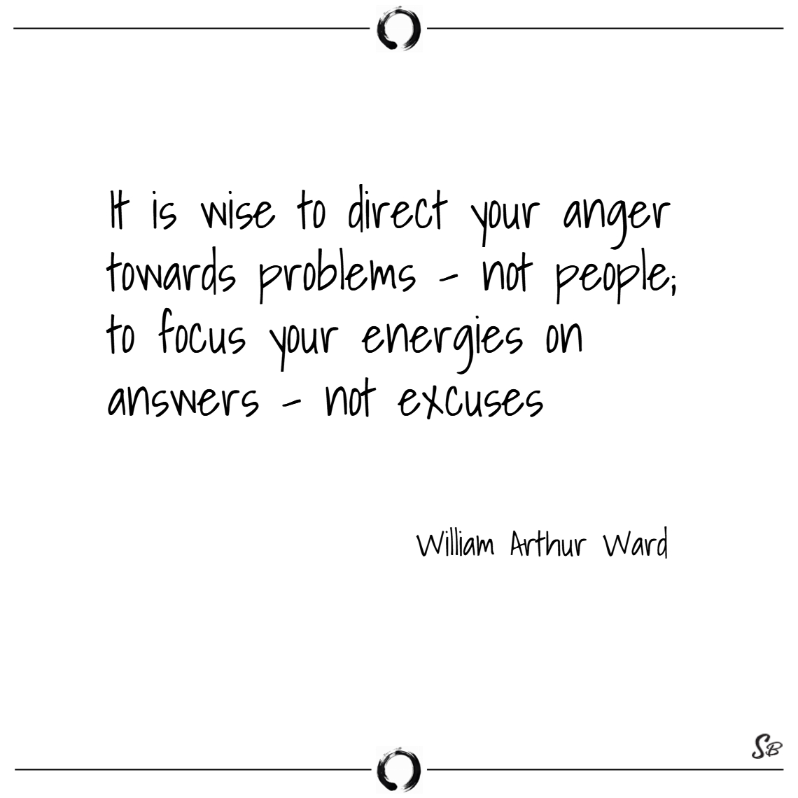 It is wise to direct your anger towards problems