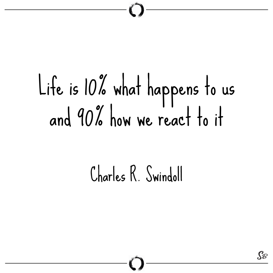 Life is 10% what happens to us and 90% how we reac