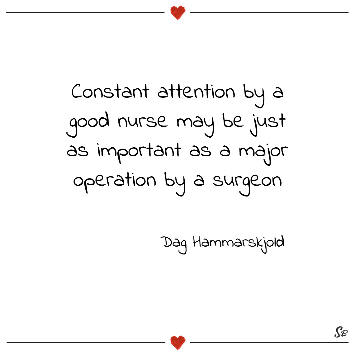 Constant attention by a good nurse may be just as impor